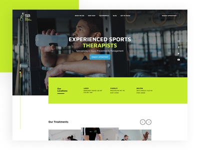 SB Sports Website 🏋️‍♂️ design web design website news treatments ui ux madebyswish exercise pt training modern clean gym massage sports