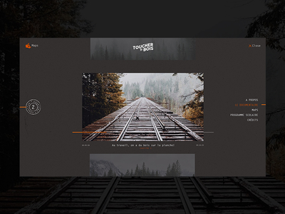 Toucher du Bois Menu minimal logo interactive documentary design ux identity ui