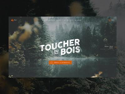 "Homepage ""Toucher du bois"" minimal logo interactive documentary design ux identity ui"