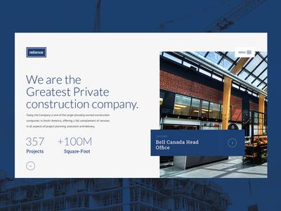Reliance webdesign ui ux minimal flat design construction website