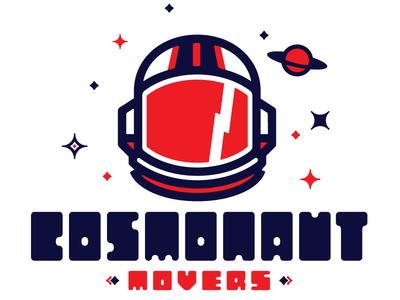 Cosmonaut Movers logo typography moving company space helmet