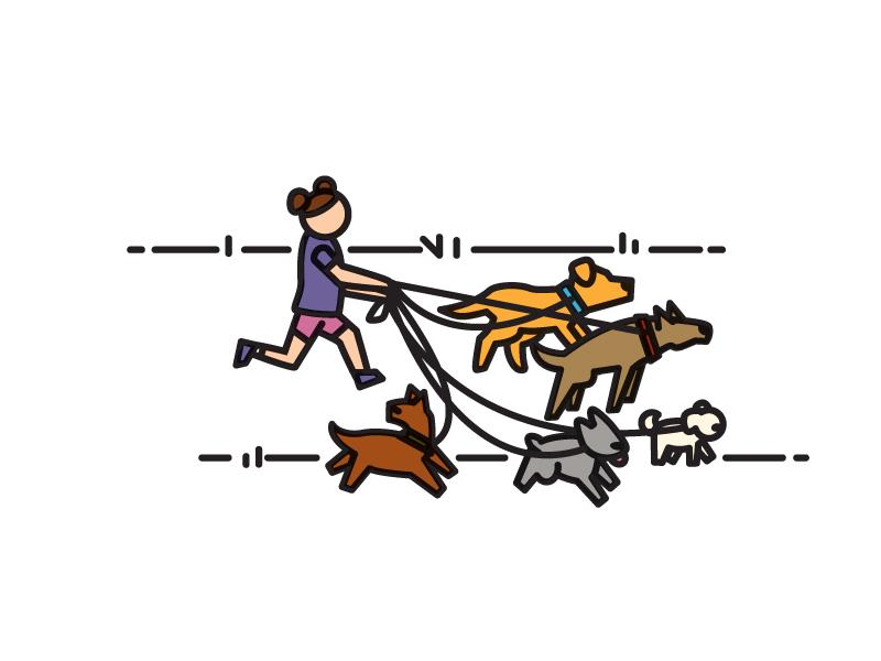 Dog Walk dog walker little dogs big dogs illustration vector walking dog