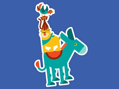 The Bremen Town Musicians fairy tale brementown musicians illustration vector rooster cat dog donkey
