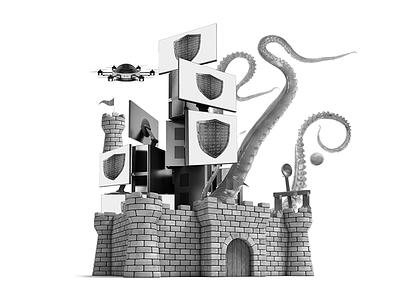 Castle Defense collage defense screens catapult drone squid castle