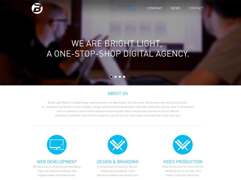 BLM Homepage web design graphic design bright light media homepage responsive washington dc wordpress icons