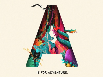 A Is For Adventure a type texture foliage plants typography adventure