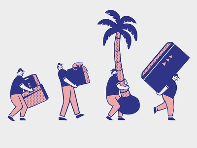 Tropic Moving photoshop walk retro palm tree box moving character illustration
