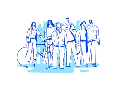 Standing Together color guy person bike line people illustration character