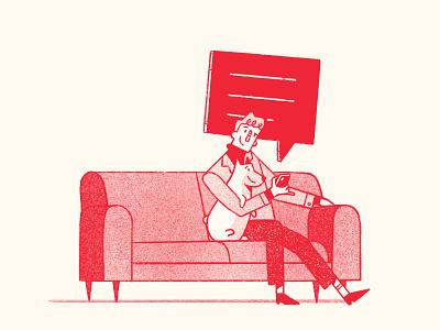 Man and Corgi ipad procreate illustration couch phone dog