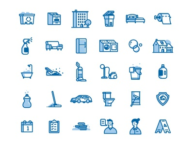Cleaning Icons iconography calendar avatar vacuum illustration cleaning icon set