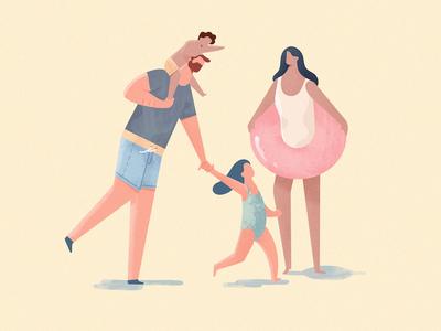 Family Fun kids dad mom cruise sun beach illustration character family