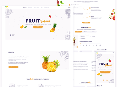 Landing Page - Fruit Boxes delivery website uidesign colors clean interface design fruits and vegetables online fruits landing web ui