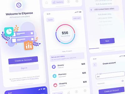 Managing Financial App application app money app financial dashboard design interaction aftereffects illustration clean ui ux money ui design ui