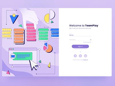 TeamPlay | Sign In task management page ux get started design ui site webdesign web abstract illustration interface platform sign in app design app