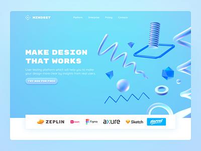 Make Design that works. User testing tool - Landing page website tool desing clean web ux prototyping user testing enterprise landing page cinema4d 3d design design tool