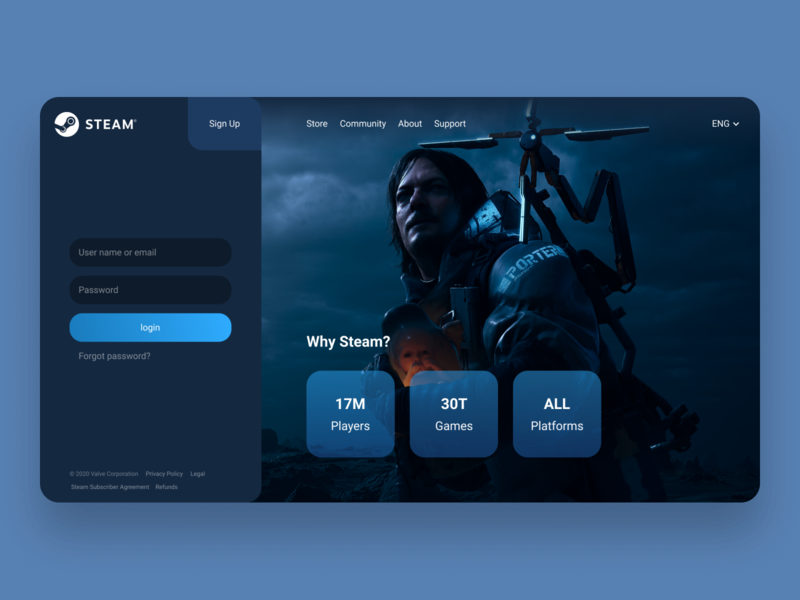 Rethinking authorization in Steam uxui uidesign uxdesign web webdesign login page games rethink menu design inteface ux ui