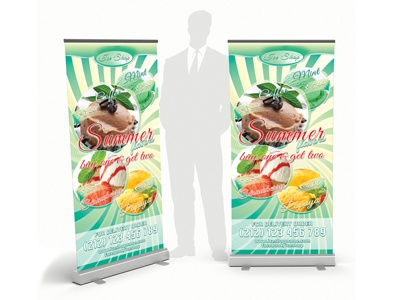 Summer Flavors  Rollup Banner outdoor summer chocolate dream fantasy flavor fresh ice cream italy mint pastry shop vanilla