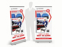 Auto Service Rollup Banner aid assurance auto car corporate creative display duty insurance mechanic safety service