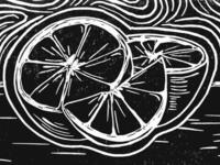 Three Oranges Linocut