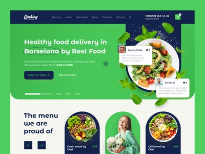 healthy food delivery website startup ui ux cooking tasty delicious chef culinary eat food recipe dish cook kitchen bakery website interface web service beverage