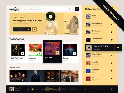 Wave - Music Streaming Dashboard uiux ui ux webdesign music clean design spotify netflix apple radio live concert web music playlist play minimal artist inspiration music app music web