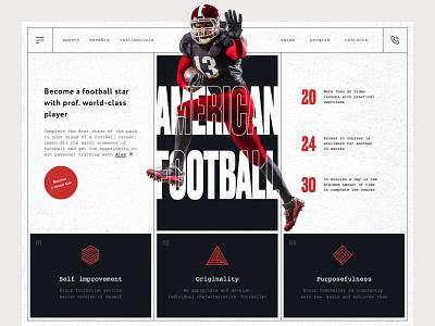 Online American Football School web design clean minimalism concept uiux ui digital sports team sport soccer rugby hockey football baseball american football sport club fifa