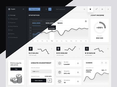 Dashboard for crypto trading bitcoin clean dark dashboad ux uiux interface crypto finance admin design