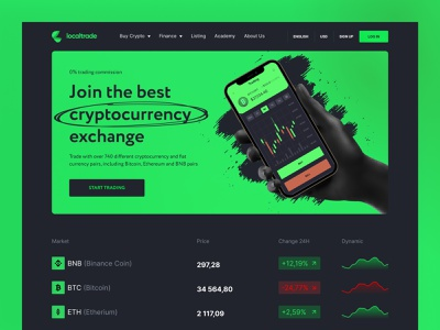 LocalTrade cryptocurrency exchange trading crypto wallet finance bitcoin cryptocurrency crypto coin binance nft landing minimalist landing page clean gradient ethereum token crypto art blockchain crypto website ux ui