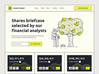 Investment Group - Landing page graphic design animation landing clean uxdesign uidesign business statistics analytics startup trading ux ui web design web landing page investing investment finance website