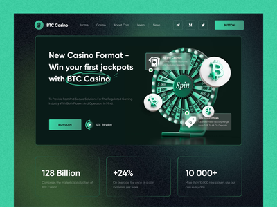 BTC Crypto Casino website ux ui crypto wallet finance bitcoin cryptocurrency coin nft landing crypto banner lottery casino graphic design animation landing page clean btc gradient blockchain
