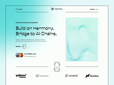 Redesign of Harmony crypto website graphic design ux ui landing coin nft crypto bitcoin cryptocurrency investment minimalist landing page clean gradient animation crypto wallet finance crypto art blockchain crypto website