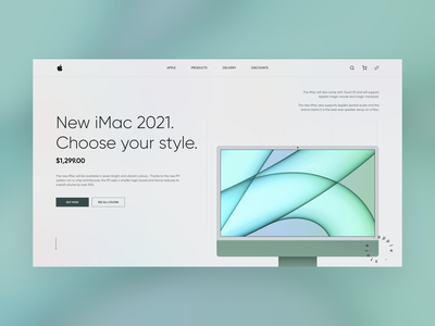 New 2021 iMac hero screen design hero device imac apple minimal webdesign website uiux design ui