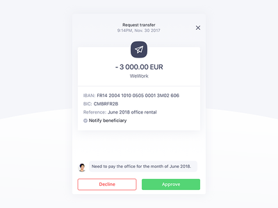 Qonto Feature Request Transfer fintech ux ui product design banking qonto request