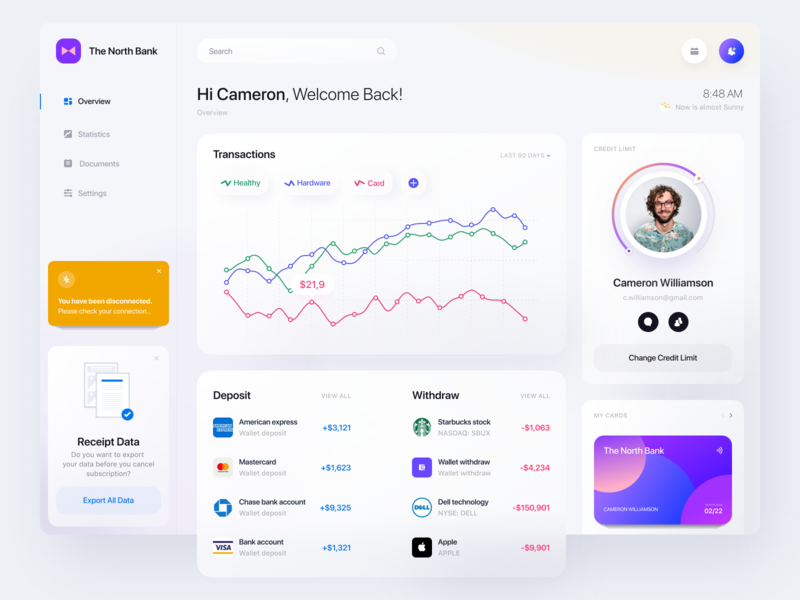 Financial Dashboard 🤑 app design ux finance financial uiux interface desing ui dashboad admin