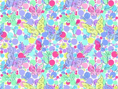 butterflies & flowers vector seamless pattern seamless pattern vector illustration design