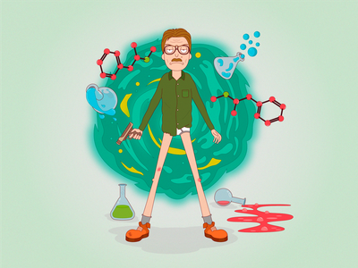 """Heisenberg in the style of """"Rick and Morty"""" rick and morty heisenberg artworks art characterdesign character cartoon artwork vectorillustration vector illustration"""