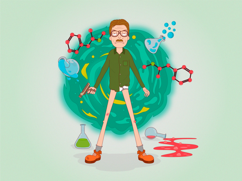 "Heisenberg in the style of ""Rick and Morty"" rick and morty heisenberg artworks art characterdesign character cartoon artwork vectorillustration vector illustration"