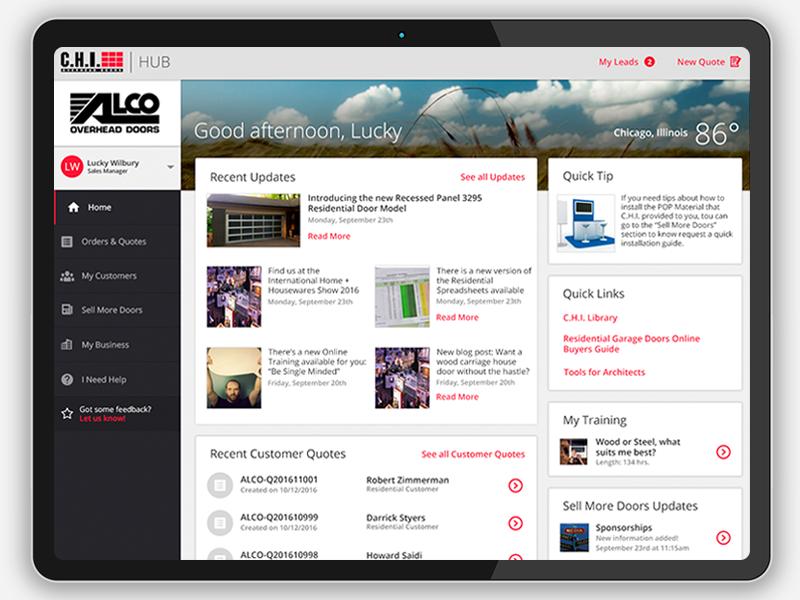 C.H.I. Hub Dashboard business desktop tablet design product doors garage web responsive ux ui dashboard