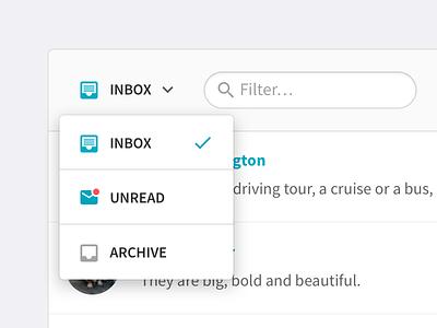 Inbox Filtering web dropdown unread archive beekeeper filtering inbox