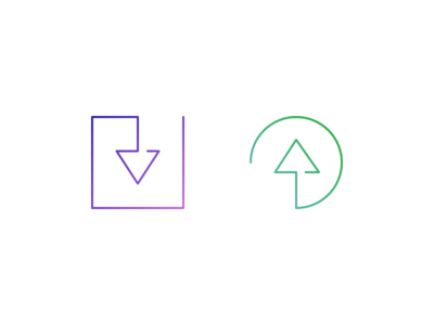 In & Out output input arrow outline icons