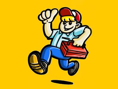 Handyman Mascot Sketch