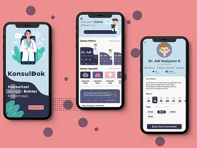 Aplikasi KonslDok dokter indonesia vector konsul konsultasi doctor app doctor ux illustration ui design