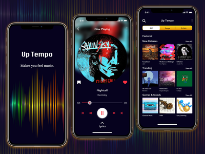 UpTempo -MusicAppDesign- brand design darkmode uidesigner uidesigns music musicappdesign musicapp branding onboarding ui logo iconography icon design colors ui uidesign branding design appdesign