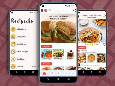 Recipedia -Mobile Recipe App Project- visualdesign ux recipeappdesign recipeapp brand design icon branding iconset iconography icon design uidesign colors ui branding design appdesign