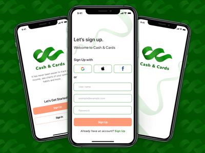 Cash&Cards -Sign Up Screen- signup form logotype logos logodesign branding onboarding logo icon design branding design uichallenge uidesign uiux ui money app financeapp sketch sign up ui sign in signupform signup