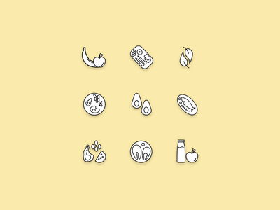 Icon Set  for Diet Apps recipe mobile app recipe app cooking app cook diet app diet icon designs icons mobile design mobile app design mobile apps mobile ui iconset icon iconography appdesign icon design branding design uidesign ui