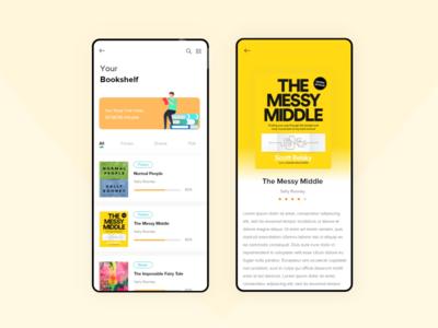 Book Reading Application animation user interface illustration app design app ui user experience uxdesign ui design ux book reading