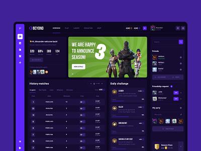 Beyong.gg - big redesign dota 2 fortnite cute app design bets tournaments statistic service game gaming ui