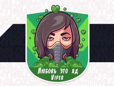 Viper character viper valorant sticker vector illustration