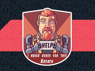 Breach valorant sticker design vector illustration